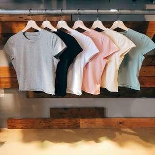 🇺🇸 歐美素面無邊彈性短版上衣短袖 💕 Color 粉紅 淡黃 粉藍 白 黑 灰