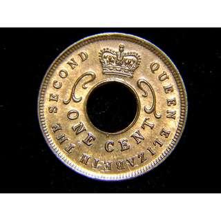 1956年英屬東非(British East Africa)皇冠象牙紋飾1仙(Cent)圓孔銅幣(英女皇伊莉莎伯二世時期,美品)