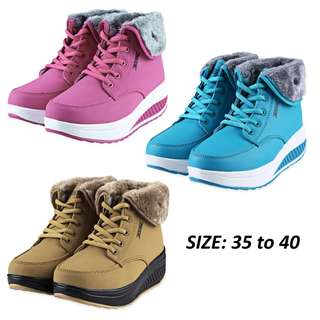 💯 Stylish Pure Color Lace Up Ladies Height Increasing Warm Boots