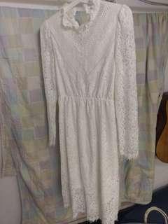 便服pre-wedding 輕婚紗 仙氣白色連身裙