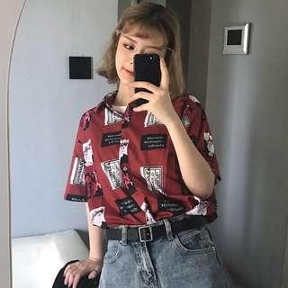 ✨ vintage maroon oldie graphic button up shirt