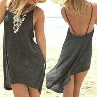 Irregular Backless Beach Dress