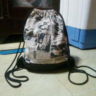 Canvas/Leather Drawstring Bag
