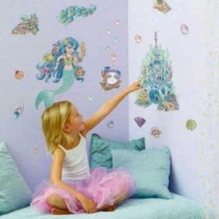 Super Sales!! BNIP FunToSee Lana the Mermaid Girls Nursery and Bedroom Wall Decals From UK.