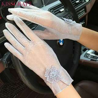 New Fashion Summer Lace Gloves For Women Sunscreen Anti-UV Thin gloves with Flowers Women's Spring Driving Gloves Female