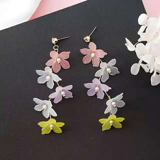 New Korean Colorful Sweety Flower Long Earrings For Women Accessories Simulated Pearl Earings Fashion Jewelry