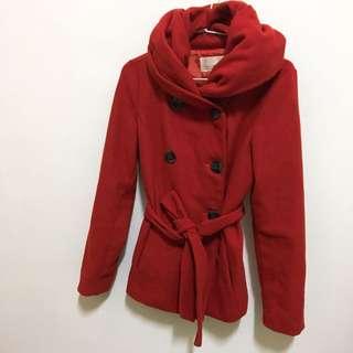 🚚 《二手》女冬大衣外套 磚紅色S