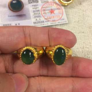 Jadeite jade   Natural Type A Icy Green Ring - Cabochon