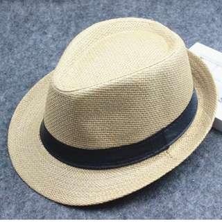 Khaki Straw Panama Fedora Hat Trilby Men Women Beach Casual