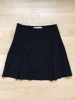 black A-line pleated skirt