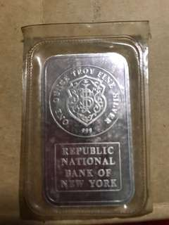 1 ounce Troy Fine Silver - Republic National Bank Of NY