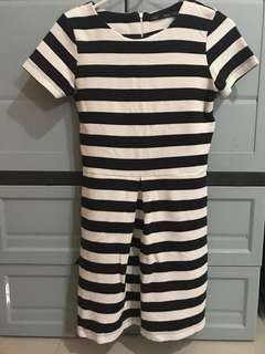 For Me Offwhite and black striped dress