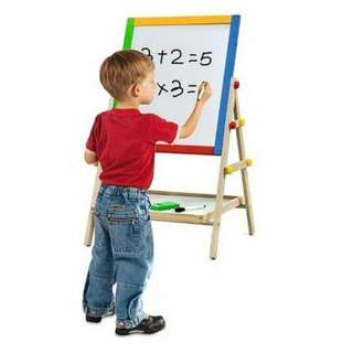 MEGA SALES ECOTOY 2-In-1 Easel Wooden White and Black Board Drawing Board