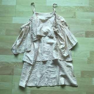 nwot the editors market flutter cold shoulder pale yellow dress