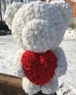 Teddy bear with heart roses wedding gift