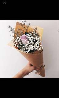 Single stalk rose bouquet