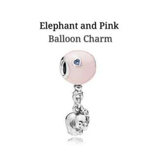 Elephant and Pink/Blue Balloon Charm