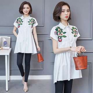 (L~5XL) 2018 Summer Embroidered Long Shirt Loose Fashion Top