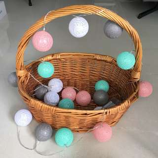 Battery Powered Fairy Lights (in pink, mint & grey rattan balls)