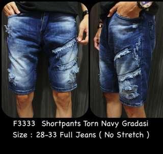 F3333 Shortpants Torn Navy Gradasi