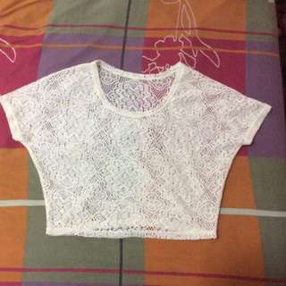New Cream Lace Cropped Top Free Size