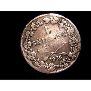 1836年瑞挪王國(Kingdom of Sweden and Norway)雙箭徽1斯基靈老銅幣(國王查理斯十四世像)