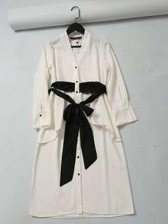 🚚 OshareGirl 05 歐美女士V領撞色設計綁帶連身洋裝連身裙