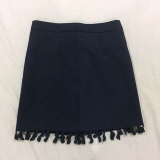 Navy blue tassle skirt