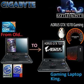 GTX 1070 in yr Old Laptop Mod...combo Pack..( Modified Old Pentium II, III, IV, i3 Laptop into Gaming Laptop )
