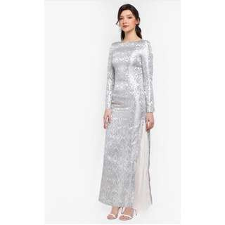 Zalia Jacquard With Side Pleats Dress For Rent (Sewa)
