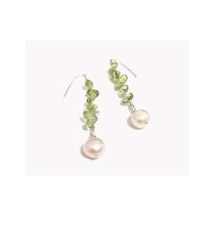 橄欖石配淡水珍珠耳環