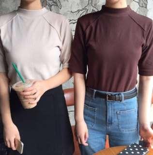 [PO] Basic Short Sleeve Mock Neck Top