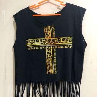 Cross Fringe top