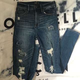 Abercrombie &fitch high waisted destroyed jeans❤