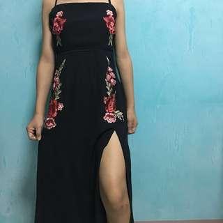 Black Embroid Slit Dress