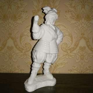 Army white porcelain figurine