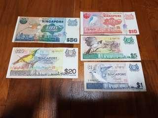Singapore birds series $1,$5,$10,$20&$50