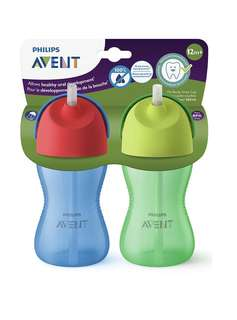 Philips Avent My Bendy Straw Cup, 10oz, 2pk, Blue/Green