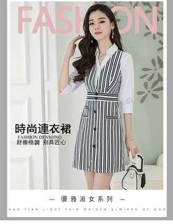2018襯衫裙夏季女裝新款 氣質OL條紋拼接修身V領七分袖A字連衣裙