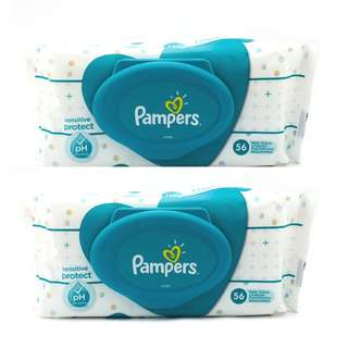 PAMPERS 56 Sensitive Protect Baby Wipes, Set of 2