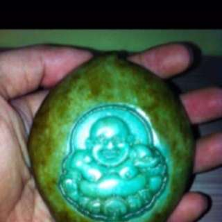 {FS138} Special Jade Sculpture Of Laughing Buddha In A Peach