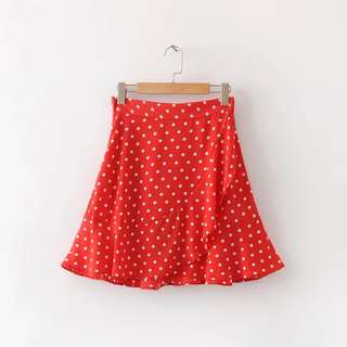 Red and White Polka dot Flowy Skirt Ruffles (Matching top available)