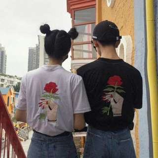 White Embroidered Rose Tee