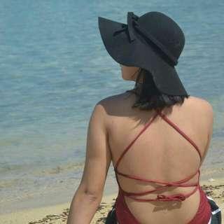 Maroon Crossback Ribbon One Piece