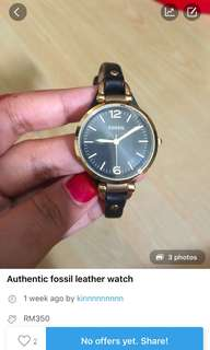 Reduced!! Fossil leather watch