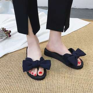 Mono-coloured Ribbon Bow Designed Trendy Slippers