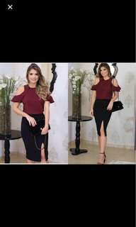 On Hand Terno Maroon Top And Black Skirt