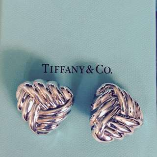 Authentic Tiffany Woven Knot Clip On Earrings