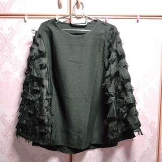 BN ruffle black top