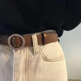 👉🏻圓圈金屬扣皮帶👈🏻 兩色可選 韓風 簡約 cool 皮質